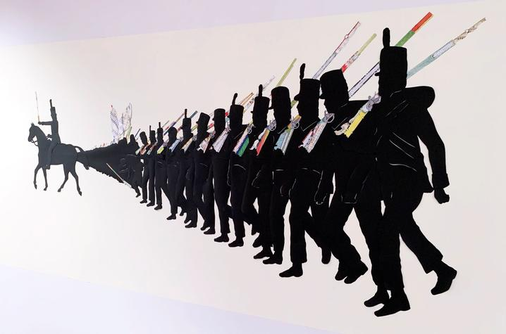 """photo of detail of soldiers marching from Ivy Johnson Fleming's mural """"A Call to Arms"""""""