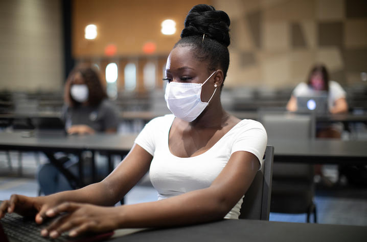 Photo of Student in class wearing mask
