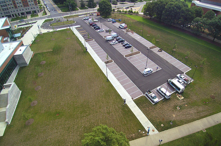 photo of Student Center visitors parking lot
