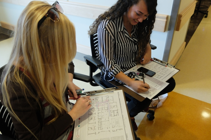 photo of UK Interiors students tracking movement on new cardiovascular floor at Pavilion A
