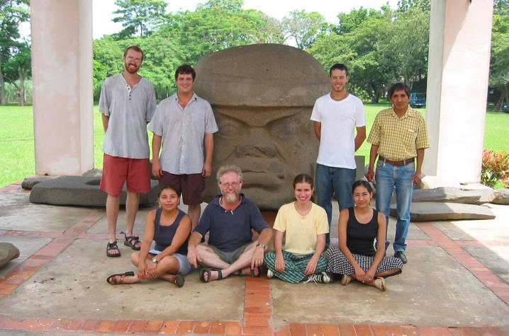 photo of group, including Chris Pool, at Tres Zapotes site