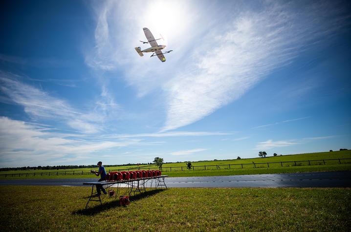 photo of UAS flying at UK North Farm