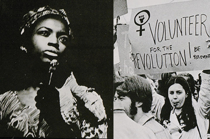 images from 1969-70 Kentuckian UK yearbook show UK students speaking out in support of women's rights.