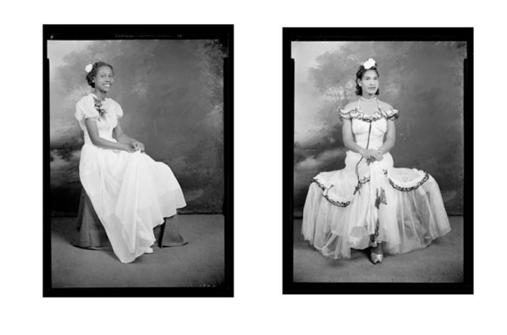 Two black and white images of women
