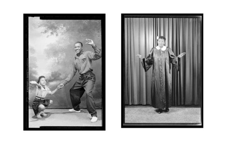 two black and white photos from Weems exhibit
