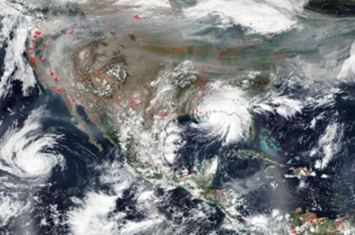 photo of wildfire smoke across U.S.