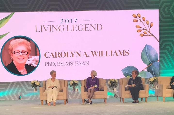 Photo of Carolyn A. Williams, emeritus dean of the UK College of Nursing being named 2017 Living Legend