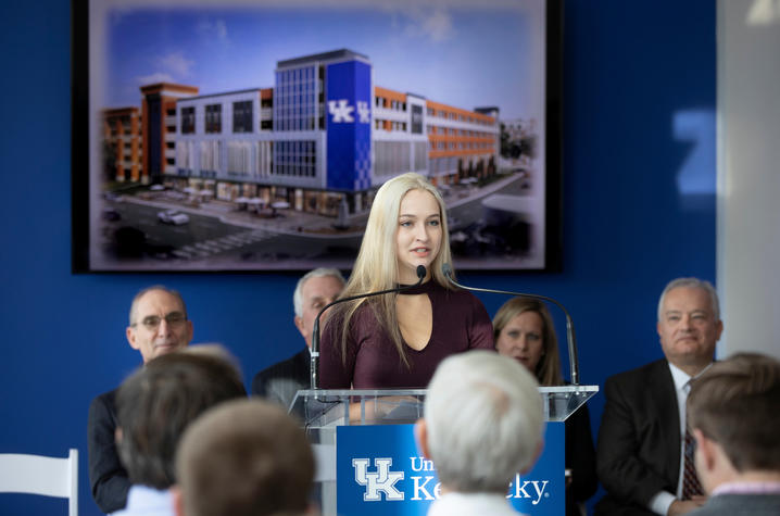 photo of Brianna Ritchison speaking at news conference