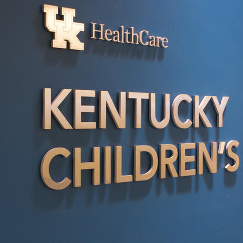 Photo of new sign outside the Kentucky Children's Hospital lobby