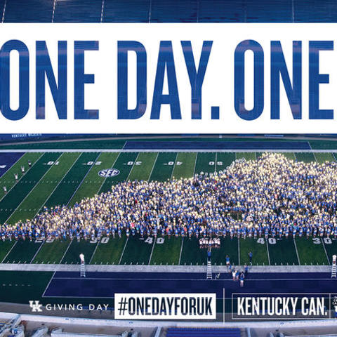 photo of students in Kentucky formation on football field with text: One Day. One UK.