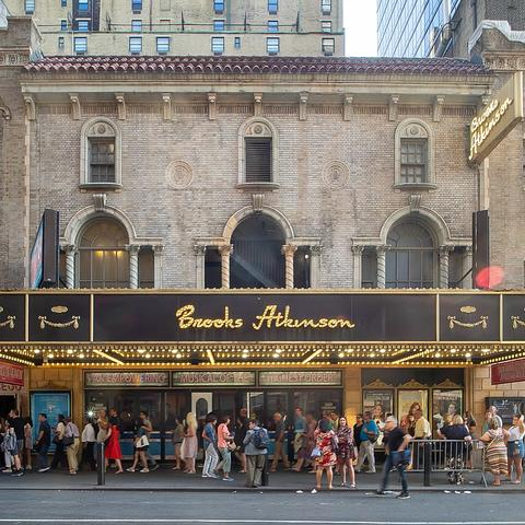 photo of people under marquee at Brooks Atkinson Theater during Waitress run