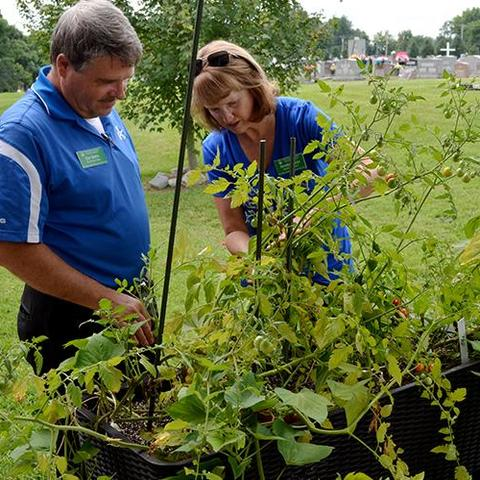 photo of Stan and Annette Martin inspecting plants