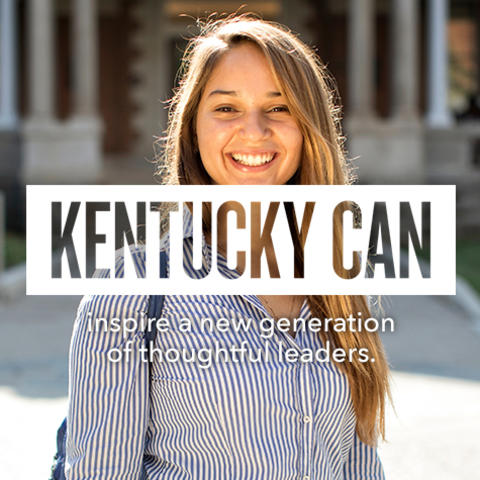 """Kentucky Can"" logo over photo of student"