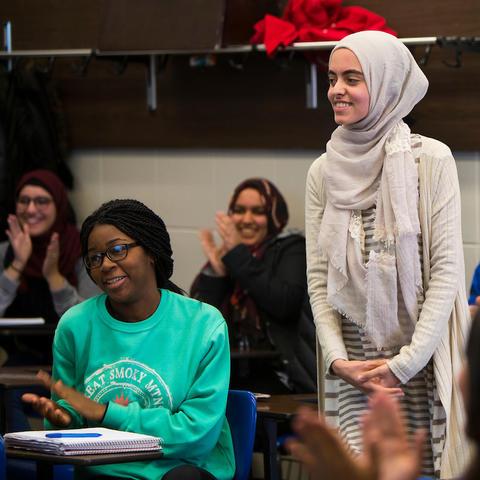 photo of Hadeel Abdallah learning she won a Truman Scholarship