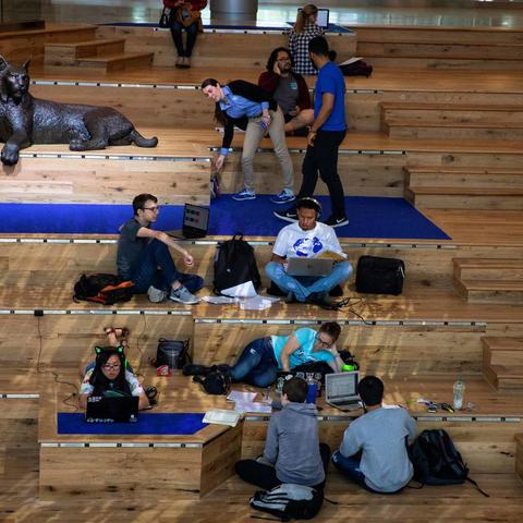 photo of students on social staircase