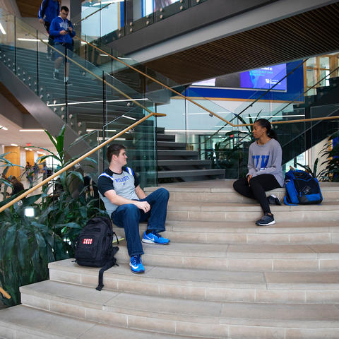 Photo of students on staircase