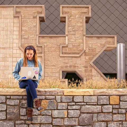 photo of student on UK campus