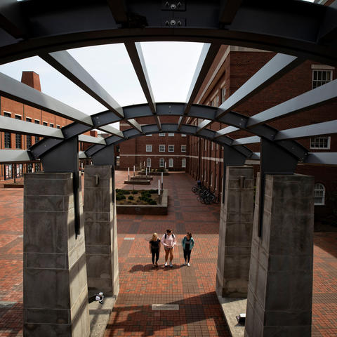This is a photo from the quad of UK's College of Engineering.