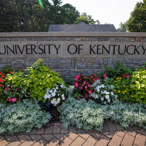 """photo of the main entrance of campus -- flowers in front of stonewall that says """"University of Kentucky"""""""