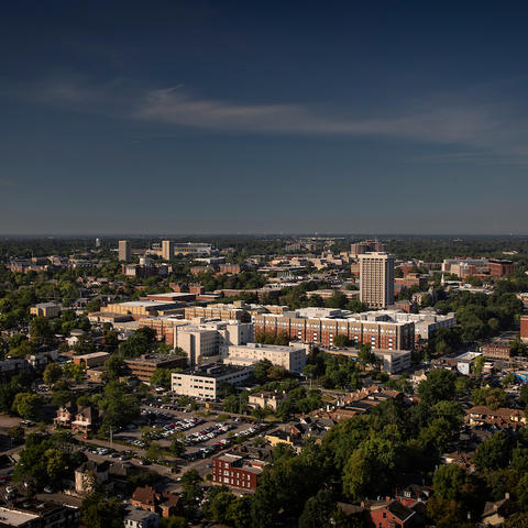 Photo of campus and larger city of Lexington