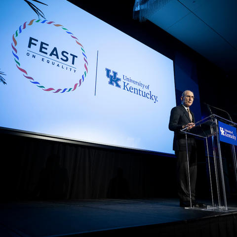 President Eli Capilouto speaking at this year's Feast on Equality.