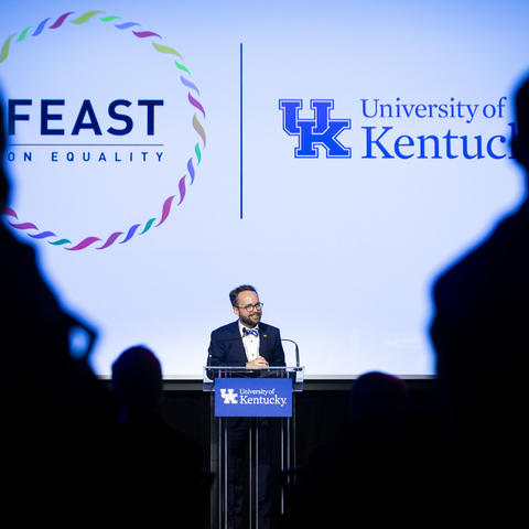 Photo of Dr. Lance Poston speaking at Feast on Equality
