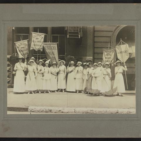 A photo from Laura Clay's papers shows suffragists marching for the Madison, Fayette and Franklin Kentucky Equal Rights Association at Democratic National Convention in St. Louis in 1916. Photo courtesy of ExploreUK.