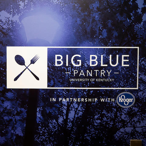 image of blue wall with big blue pantry logo