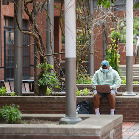 Photo of student studying on campus