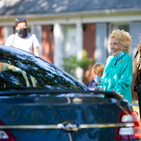 Helen Evans' birthday celebration had a parade of over 50 cars.