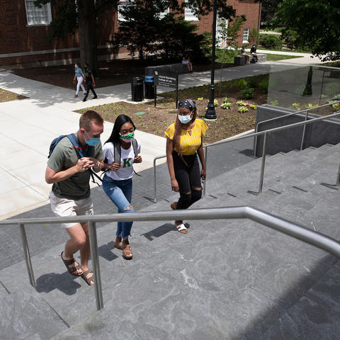 Photo of students walking up stairs
