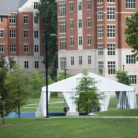 A canopy in front of a residence hall. Mark Cornelison   UKphoto