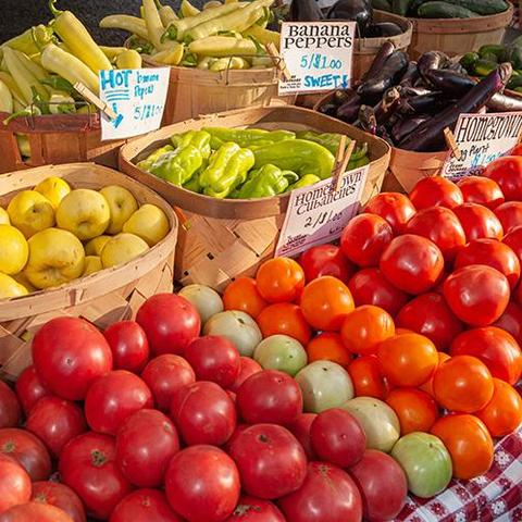 various types of produce with labels in baskets