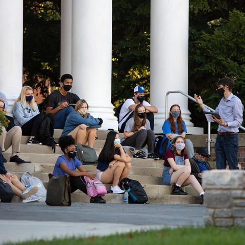Photo of students taking outdoor class