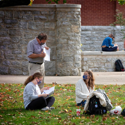 Students in outdoor class on UK campus