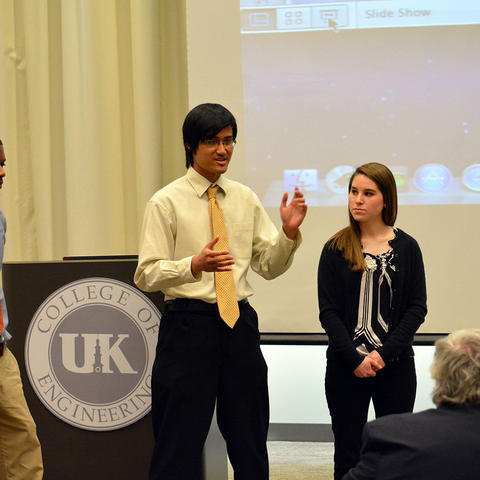 Photo of a student team pitching at the UK Venture Challenge