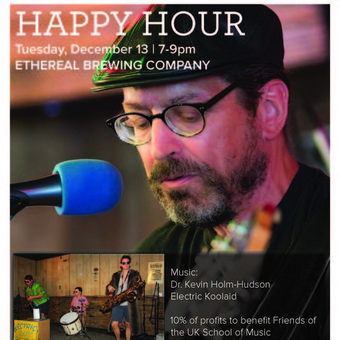 "photo of Friends of Music poster for ""Happy Hour"" event"