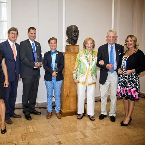 photo of Deirdre Scaggs, Ben Chandler, Steven K. Riley, Whitney Walker, Bess and Tyler Abell, and Amy Michele Madsen