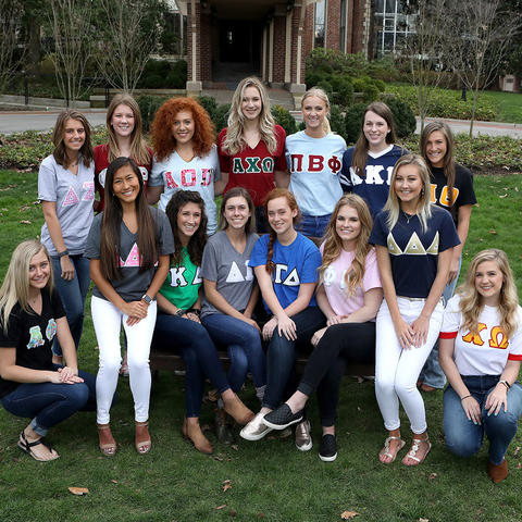 photo of members of 2017-18 Panhellenic Council in their letters