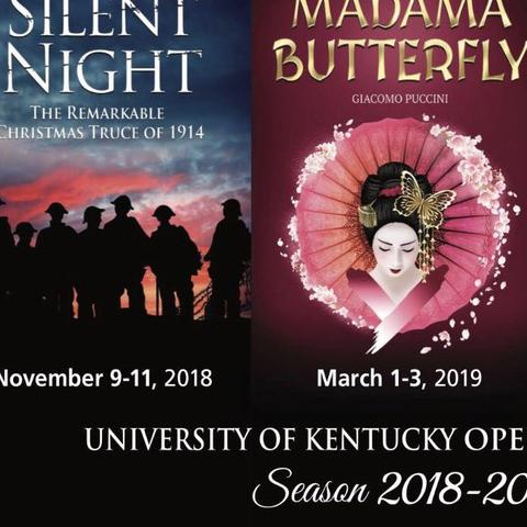 photo of posters for 3 2018-19 UK Opera Theatre shows - Silent Night, Madama Butterfly & Grand Night