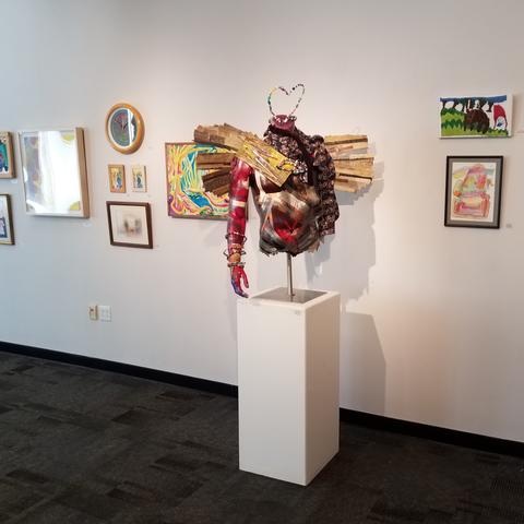 Photo of exhibition pieces in gallery