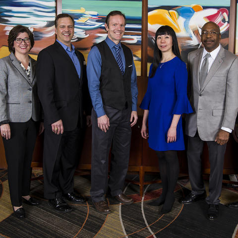 The 2019 Great Teacher Award winners are, from left, Margaret Rintamaa, Gregory Luhan, Michael D. Toland, Wendy Liu, Melvin Coffee and Charles Hazle Jr. Photo by Tim Webb.