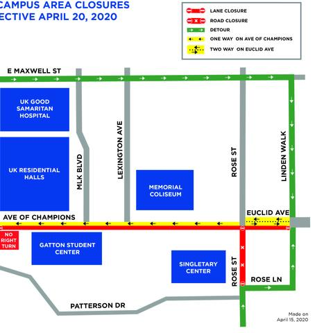 map of Avenue of Champions and Rose Street vicinity with closures and traffic pattern