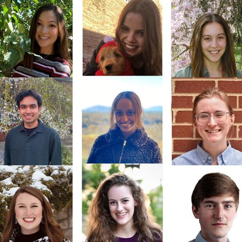 12 headshot photos of the 2021 Gaines Center Fellows