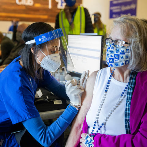 This is a photo of a COVID-19 vaccination at Kroger Field.