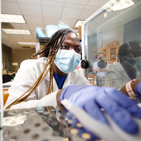 Engineering professor Martha Grady in her laser lab.