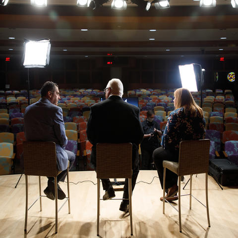 Dr. Peter Sawaya, nephrology, Dr. Greg Jicha of Sanders-Brown, and Allison Gibson, College of Social Work, on the set of some brain health training videos they will be producing on April 23, 2021. Photo by Mark Cornelison | UKphoto