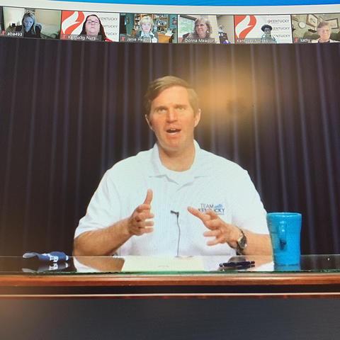 screenshot of Governor Beshear at virtual signing ceremony