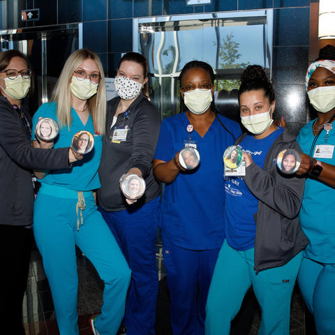 Barnstable Brown Diabetes Clinic uses picture pins so the children know what their caretaker looks like behind the masks. L-R Angela Hepner, Brooke Combs, Shannon O'Mara, Shana Atanga, Brianna Romano, Keila Guy. Photo by Mark Cornelison | UKphoto