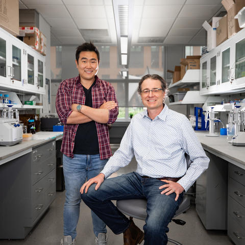 Ramon Sun and Matt Gentry collaborated with other researchers to discover an additional type of sugar in the brain. Photo by Pete Comparoni | UKphoto